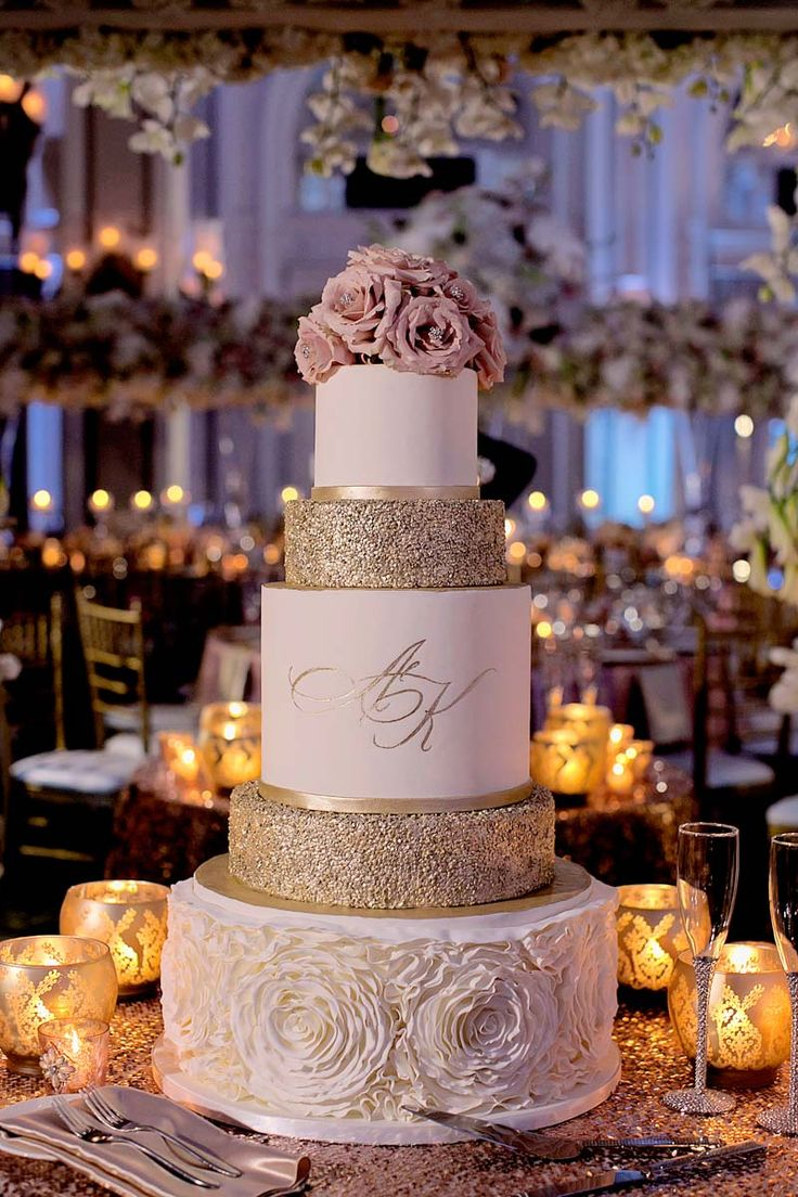 Pink rose and gold glitter cake table Adrienne&Keith_Wedd_0789