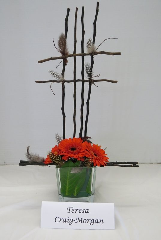 At our Mid Island Floral Art Club May 2015 meeting we created line and mass designs.