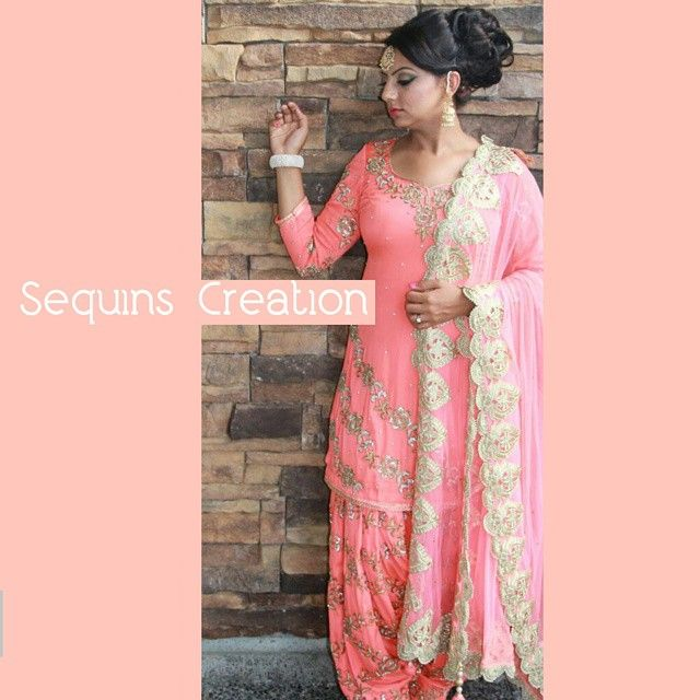 Patiala shahi salwar kameez which can be alter according to your requirements. Jewelry and outfit available for purchase at #sequinscreation. Hmua by @redcarpetstudios_rcs.