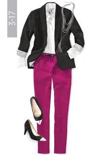Statement Knit Blazer, shirt, coloured denim, necklace, skinny belt, cap toe pumps / Le veston de l'heure, chemise, denim coloré, collier, ceinture étroite, escarpin à bout rapporté #reitmans #reitmanspinittowinit