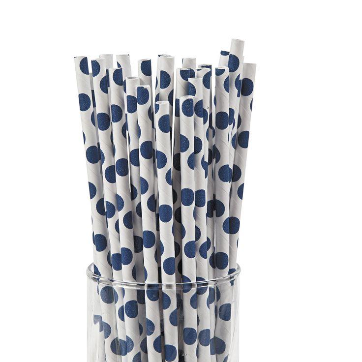 Straws - Polka Dots, Paper, 12 Pack - Dot NZ Shop