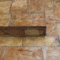 Antique French Terracotta Parefeuille Tiles are a perfect material for exterior steps – treads and risers – These beautiful steps were installed 4 years ago, using poured in place concr…