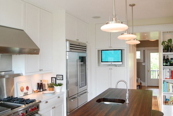 20 Awesome Flat Screen Tv Furniture In The Kitchen Home Design Lover Traditional Kitchen Design Tv In Kitchen Kitchen Design