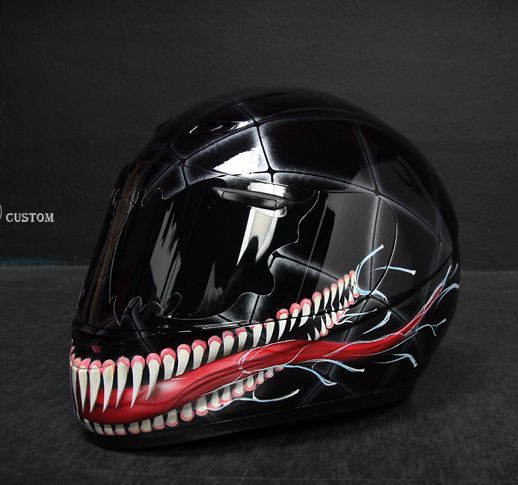 Venom Helmet Motorcycles Custom Paintings, Awesome Helmets, Crash Helmets, Custom Helmets