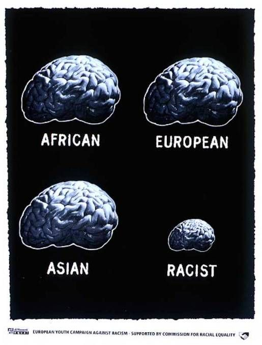European Youth Campaign Against Racism, supported by the Commission for Racial Equality.  Ad campaign by Saatchi & Saatchi, London.