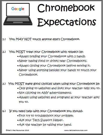 Set Student Expectations for Your 1 to 1 Classroom with Google Chromebooks using this Free Poster