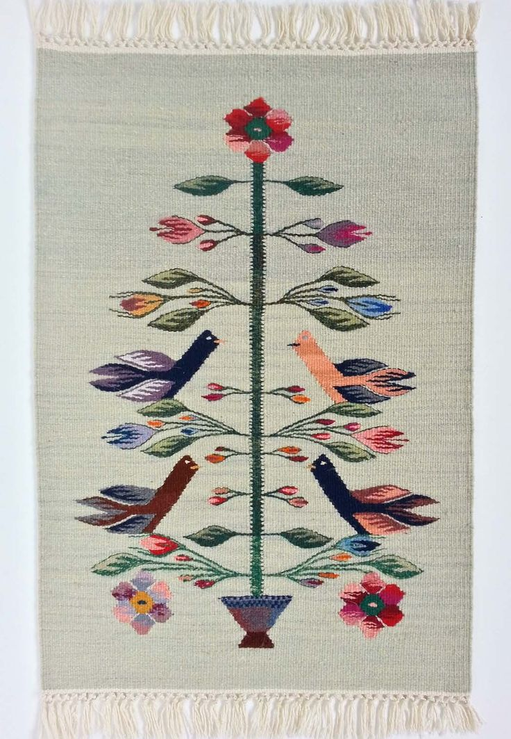 Buy now this handmade wool area rug with the Tree of Life motif - Authentic traditional Romanian folk art