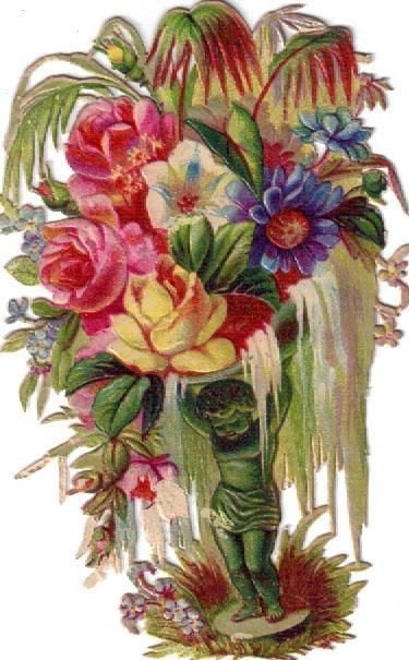 Victorian Die Cut Scrap Lovely Cherub w Floral Hanging Bouquet c1880