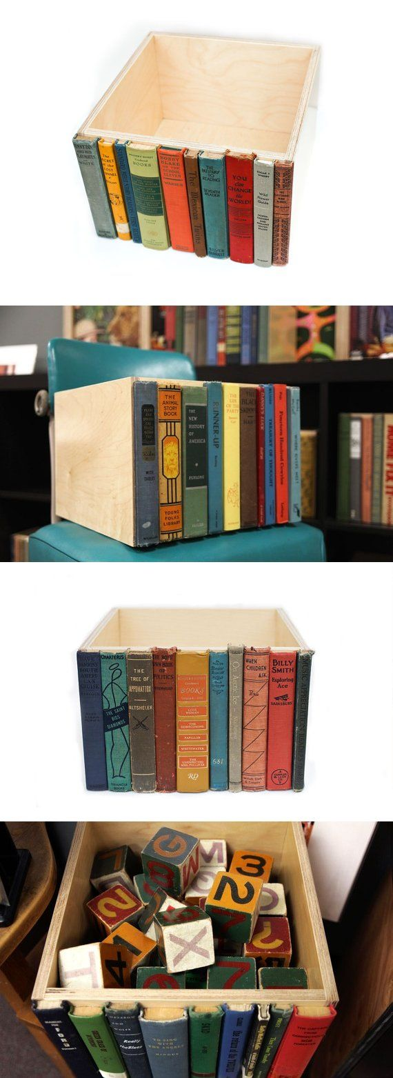 Wooden box with book spines on the front - will blend right into the rest of your books on your bookshelf