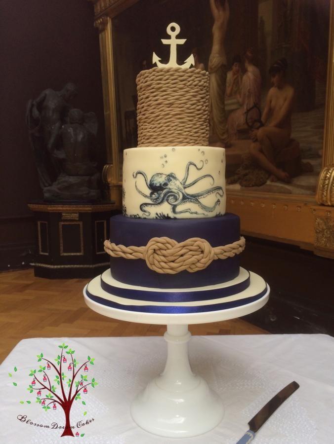 Nautical Wedding Cake by Blossom Dream Cakes - Angela Morris - http://cakesdecor.com/cakes/257282-nautical-wedding-cake