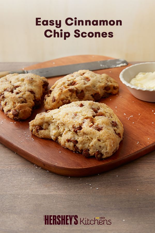 These delicious Easy Cinnamon Chip Scones go great with a cup of coffee on a crisp fall morning. Make morning meals easy with this family-friendly breakfast recipe, made with HERSHEY'S Kitchens Cinnamon Chips. Wake up to the smell of warm cinnamon and morning go-to scones.