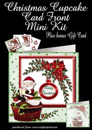 Christmas Cupcake plus gift card on Craftsuprint - Add To Basket!