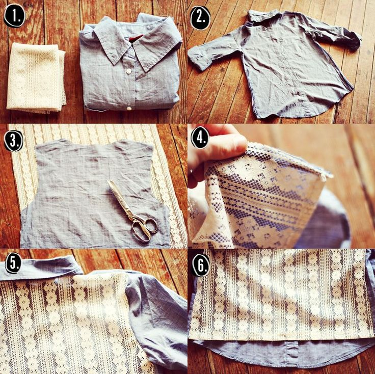 denim shirt with lace.  cut off the back layer and sew the lace fabric on.. so cute.