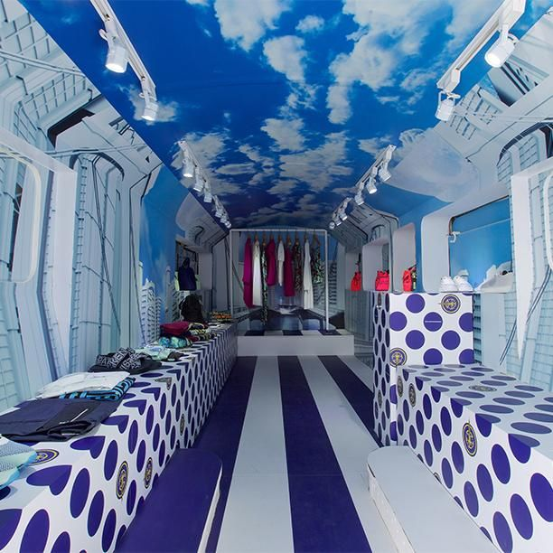 "THE KENZO FASHION BUS, (INTERIOR), ""Welcome and please come in"", pinned by Ton van der Veer"