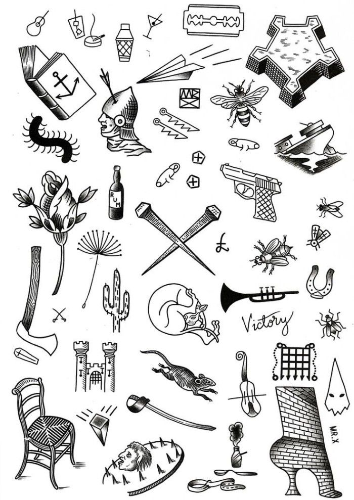 0da4fd5315b20 selection of small meaningful tattoos, drawn in black, on a white template  sheet, open book and cocktails, flowers and insects, and many others