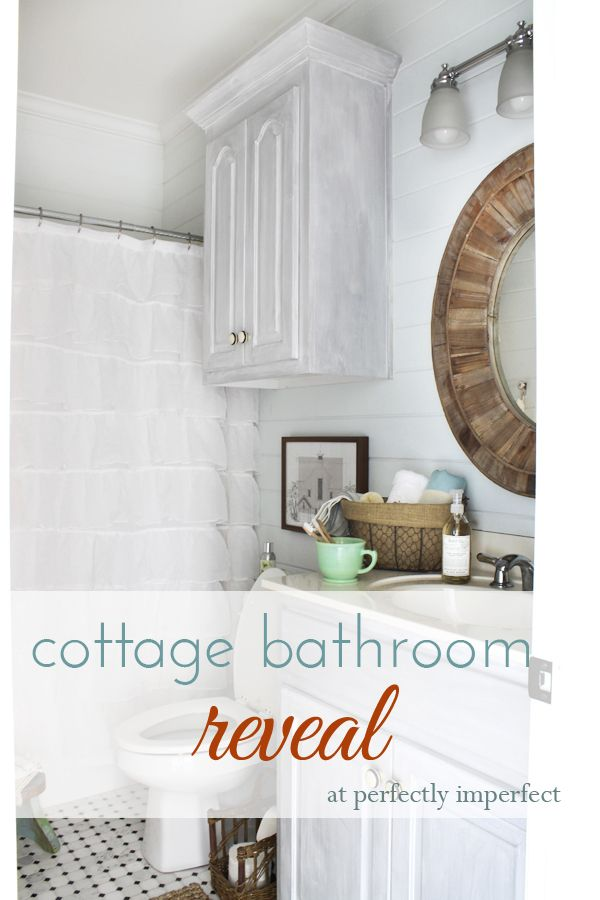 Cottage Guest Bathroom Reveal | perfectly imperfect- must paint my cabinets using this technique!