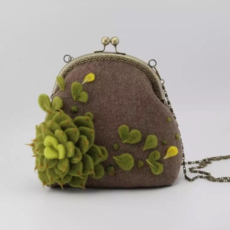 Wool felted Succulents Echeveria cell phine case handmade coon pouch kiss lock coin purse clasp needle felted handbag by PandaJHandmade on Etsy https://www.etsy.com/listing/280485376/wool-felted-succulents-echeveria-cell