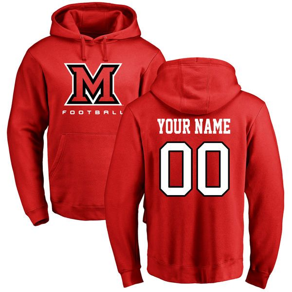 Miami University RedHawks Personalized Football Pullover Hoodie - Red - $69.99