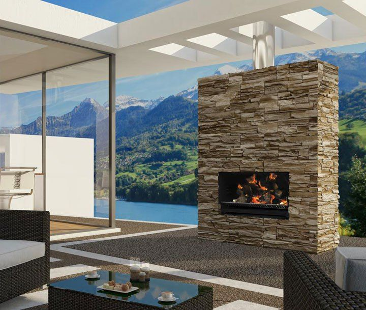 Escea's outdoor wood and cooking fireplace