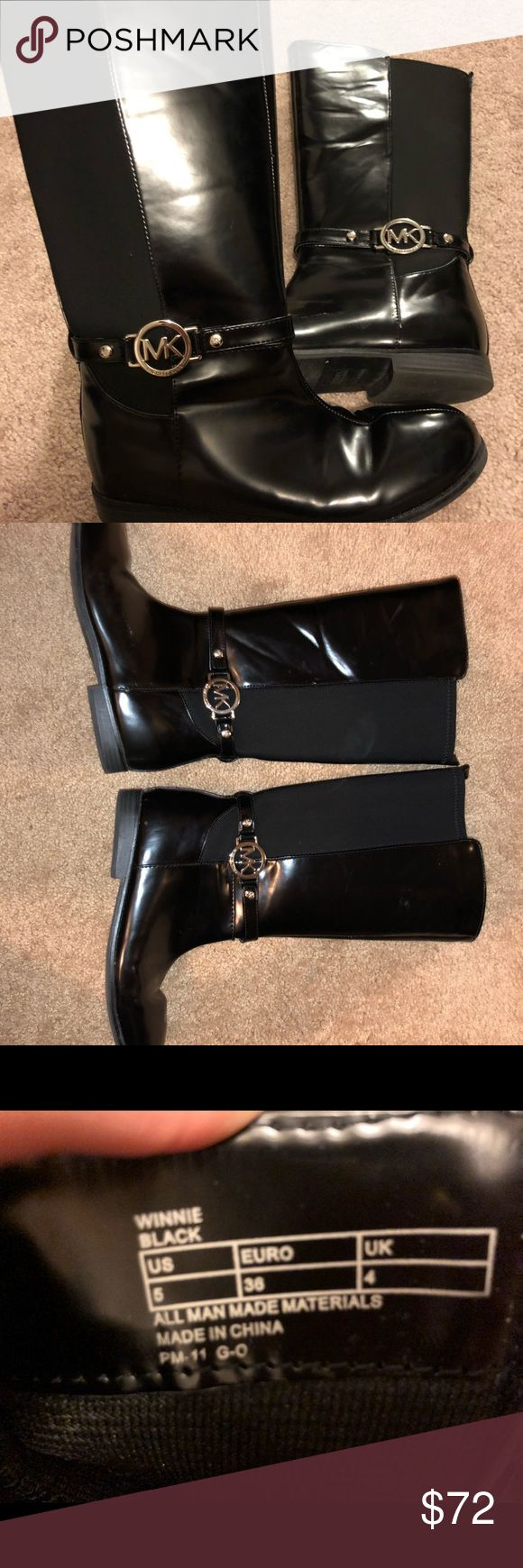 """Authentic MK Boots! MAKE AN OFFER! These boots have been worn and have small scuffs on the inner side; The scuffs can be fixed with shoe polish easily but I rather just give them away! They are a """"5""""but can be worn by 5 or 6! Offer away!! Michael Kors Shoes Heeled Boots"""