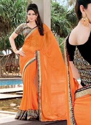 Fabulose Orange Chiffon Party Wear Saree http://www.angelnx.com/Sarees