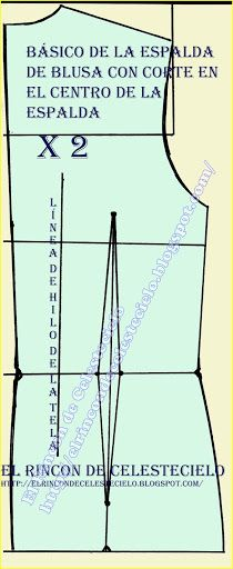 El Rincon De Celestecielo: Patrón básico de espalda de blusa con corte en el centro