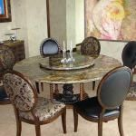round granite dining table set in classic design