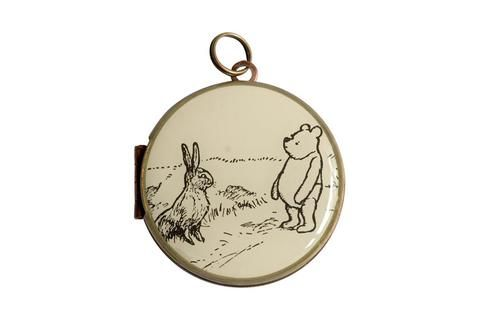 Featuring Winnie the Pooh & Rabbit, this postage stamp was released by Great Britain in 2010.  The vintage locket is made from brass and copper and measures 30mm in diameter. The locket opens from the side and is capable of holding 2 of your most precious memories inside. https://www.mrssmileys.com/