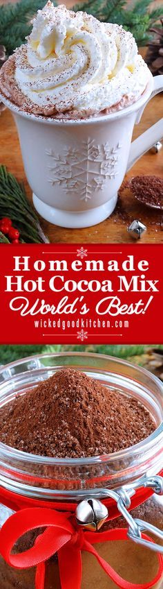 Homemade Hot Cocoa Mix – Christmas, Holiday Recipe - Includes Top 10 Secrets to Make the Very Best Cup of Hot Cocoa. | diy hot chocolate drink recipe