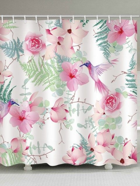 Plants Bird Print Waterproof Shower Curtain