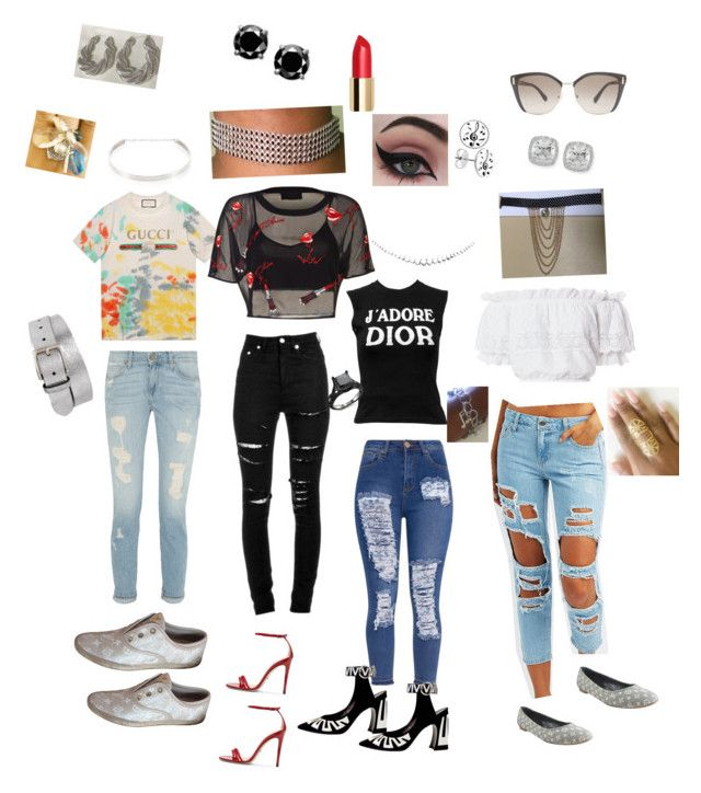 """""""Shop www.thequ33nroxx.com for these poppin jewelry looks"""" by thequ33nroxx on Polyvore featuring Yves Saint Laurent, Cello, LoveShackFancy, Gucci, Christian Dior, Louis Vuitton, Concrete Minerals, Frederic Sage, Music Notes and Jennifer Zeuner"""