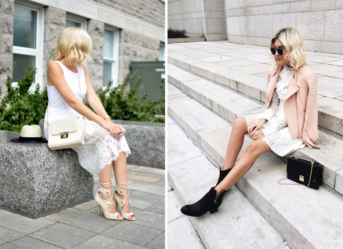 White dress in tough and a romantic look.