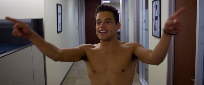 Rami Malek's shirtless body as seen in the movie Need for Speed (2014)...