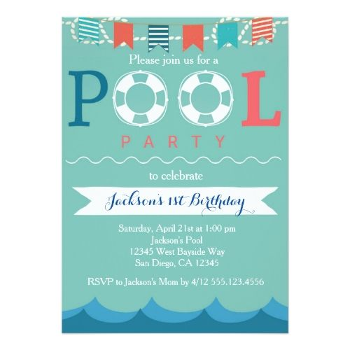 120 best boys 1st birthday party invitations images on pinterest boys 1st birthday party nautical pool party birthday invitation stopboris
