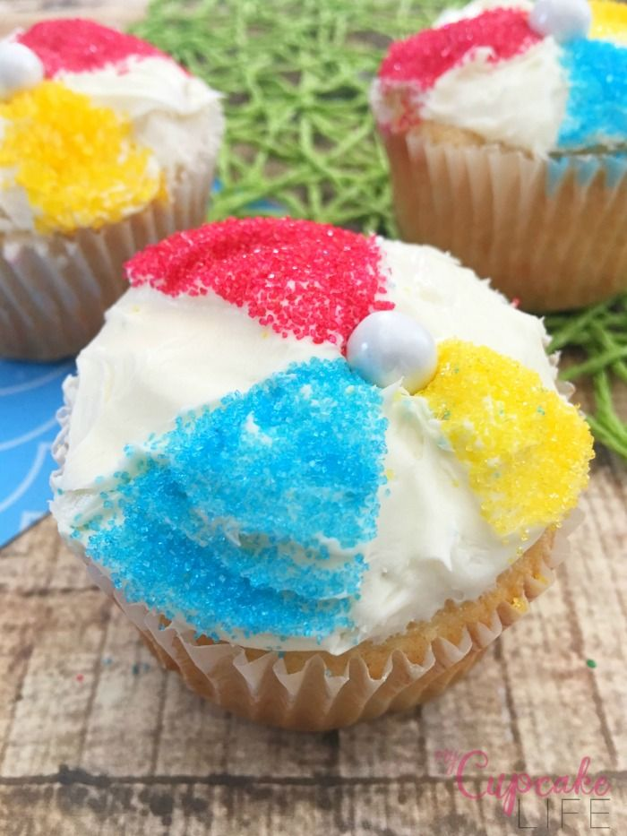Life is a Beach Ball Cupcakes