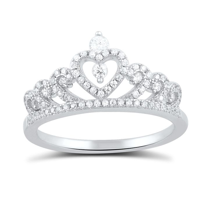 Sterling Silver Cz Heart Crown Ring Homecoming Silver
