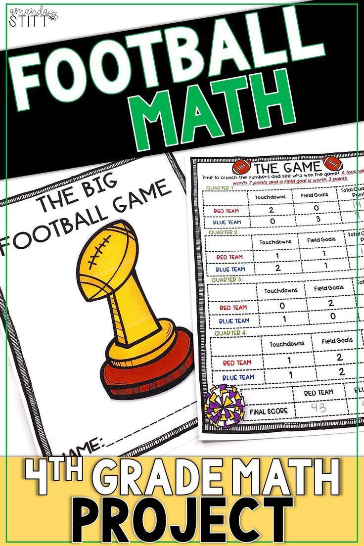 Football Math Project Digital And Printable 4th Grade Math Projects Football Math Activities 4th Grade Math Worksheets [ 1104 x 736 Pixel ]