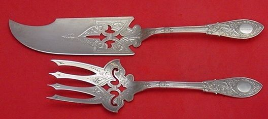 ARABESQUE BY WHITING STERLING FISH SERVING SET 2-PC. SERVER 13