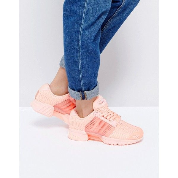 adidas Originals Haze Coral Climacool Trainers (£95) ❤ liked on Polyvore featuring shoes, sneakers, pink, pink shoes, lace up shoes, lace up high top sneakers, lightweight sneakers and pink high tops