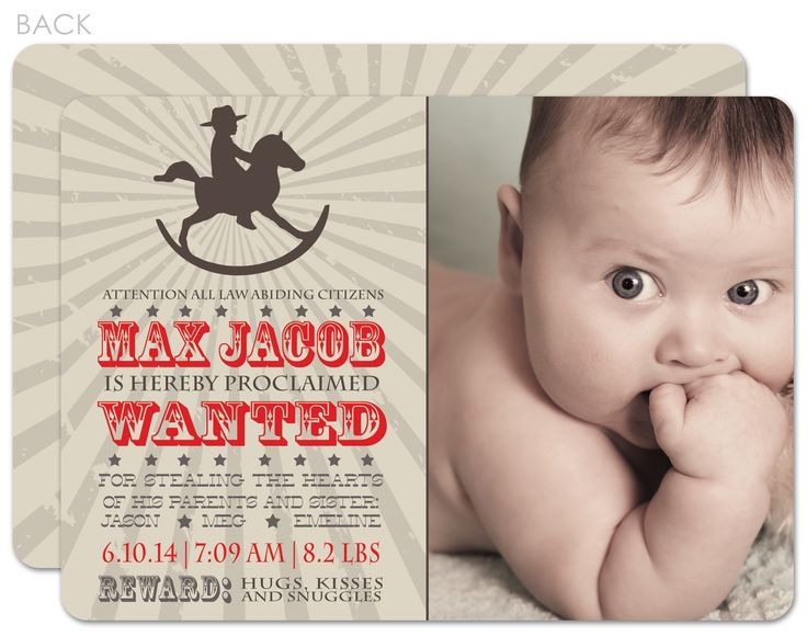 1000 images about Birth announcements – Cowboy Birth Announcements