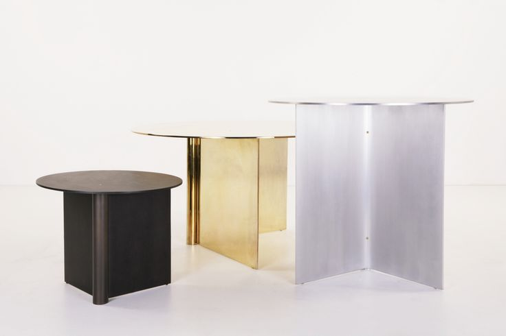 "Small:  13 3/4"" tall x 16"" wide Medium:  22"" tall x 24"" wide Large:  17 1/2"" tall x 31 1/2"" wide  The OS is made of aluminum, in polished brass, blackened aluminum, or matt  brushed aluminum finish with brass screws. The tables are waxed finish.   Handmade in LA."