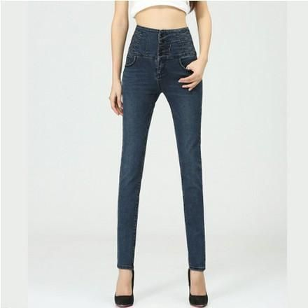 2016 New Big Yards Breasted Waist Jeans Casual Slim Was Thin Pencil Pants Trousers For Women
