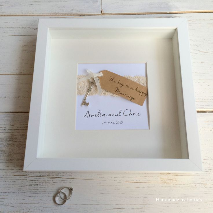 Unique Wedding Gift - Handmade Wedding Picture - Personalised Wedding -Key to a happy marriage - Personalised Framed Wedding artwork. Personalised Wedding Present by Madebylotties on Etsy