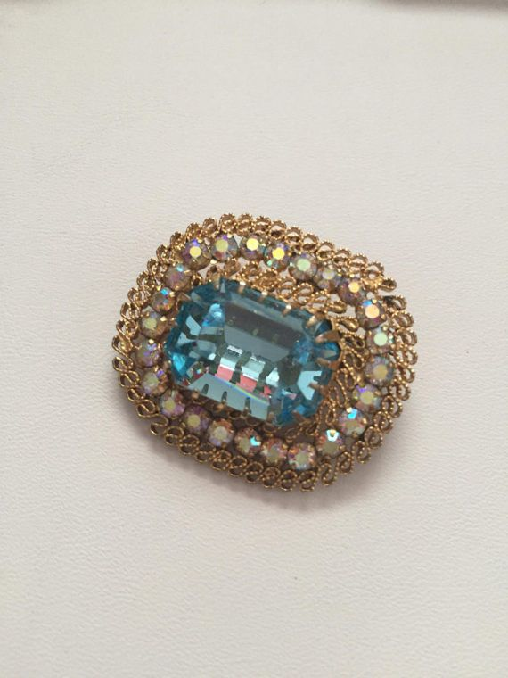 Gold Brooch with Aquamarine Stone and Crystals by BlkBttrflyDsgns