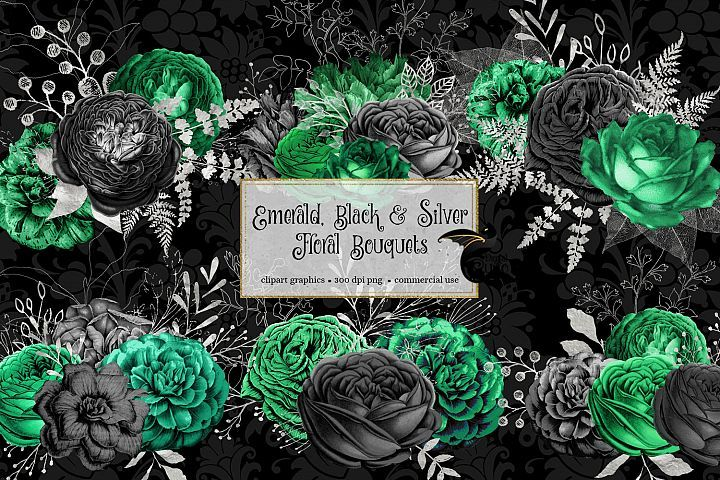 Emerald Black And Silver Floral Bouquets 386184 Illustrations Design Bundles Floral Bouquets Illustration Illustration Design
