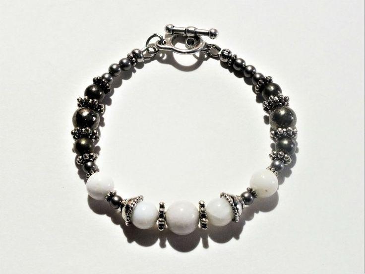 Simplicity Bracelet - White Jade and Pyrite