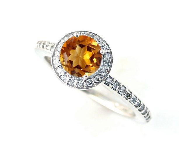 14K Citrine Ring Diamond Halo Citrine Ring Custom 14K 18K White Yellow Rose Gold