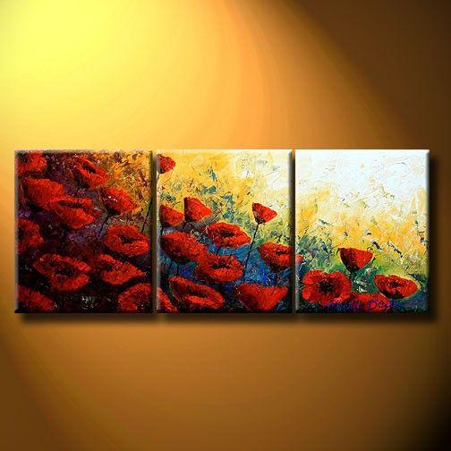 La luz de amapola     TAMAÑO: 60 x 24 pulgadas  MEDIO: ÓLEO  Tres paneles de 20 x 24 x 3/4 lienzo Galería envueltas y pintada alrededor de los bordes  estirado y listo para colgar  SIN NECESIDAD DE BASTIDOR