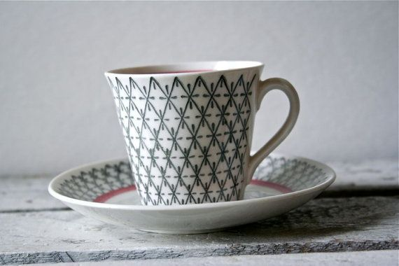 stunning tea cup from sweden 50s or 60s blueflowervintage on etsy $30.00