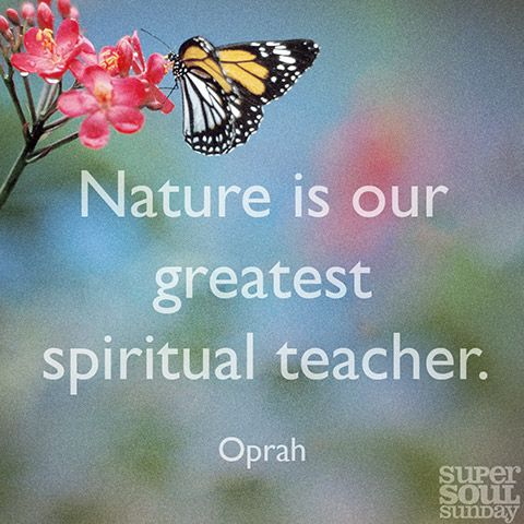 Nature is our greatest spiritual teacher...Oprah